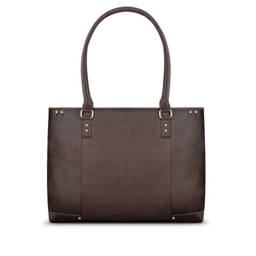 SOLO JAY LEATHER TOTE DARK BROWN. WALNUT 15.6